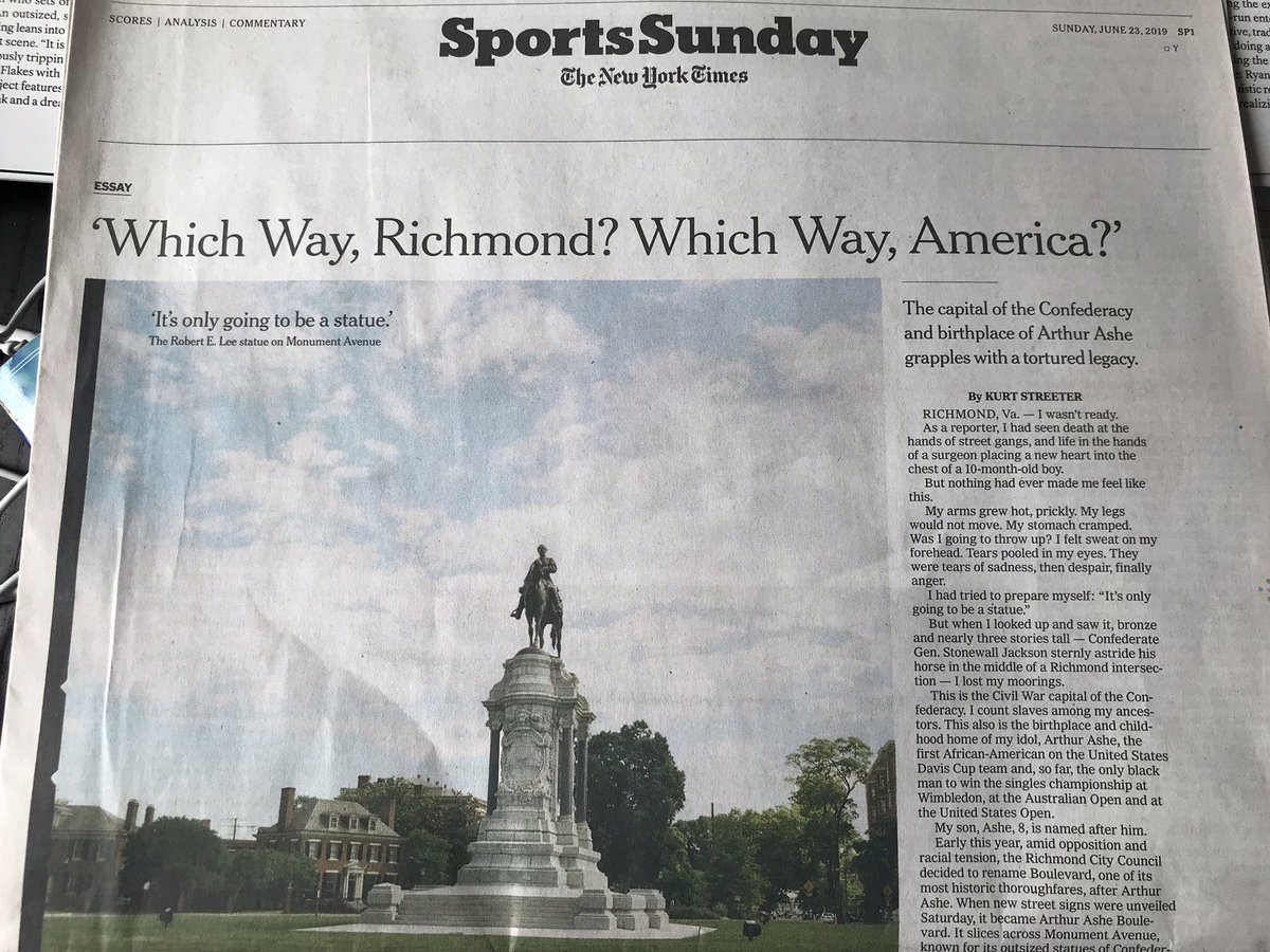 """""""Which Way, America? Which Way?"""" My @NYT SportsSunday cover story from a year ago: June 23, 2019. (One of two)"""
