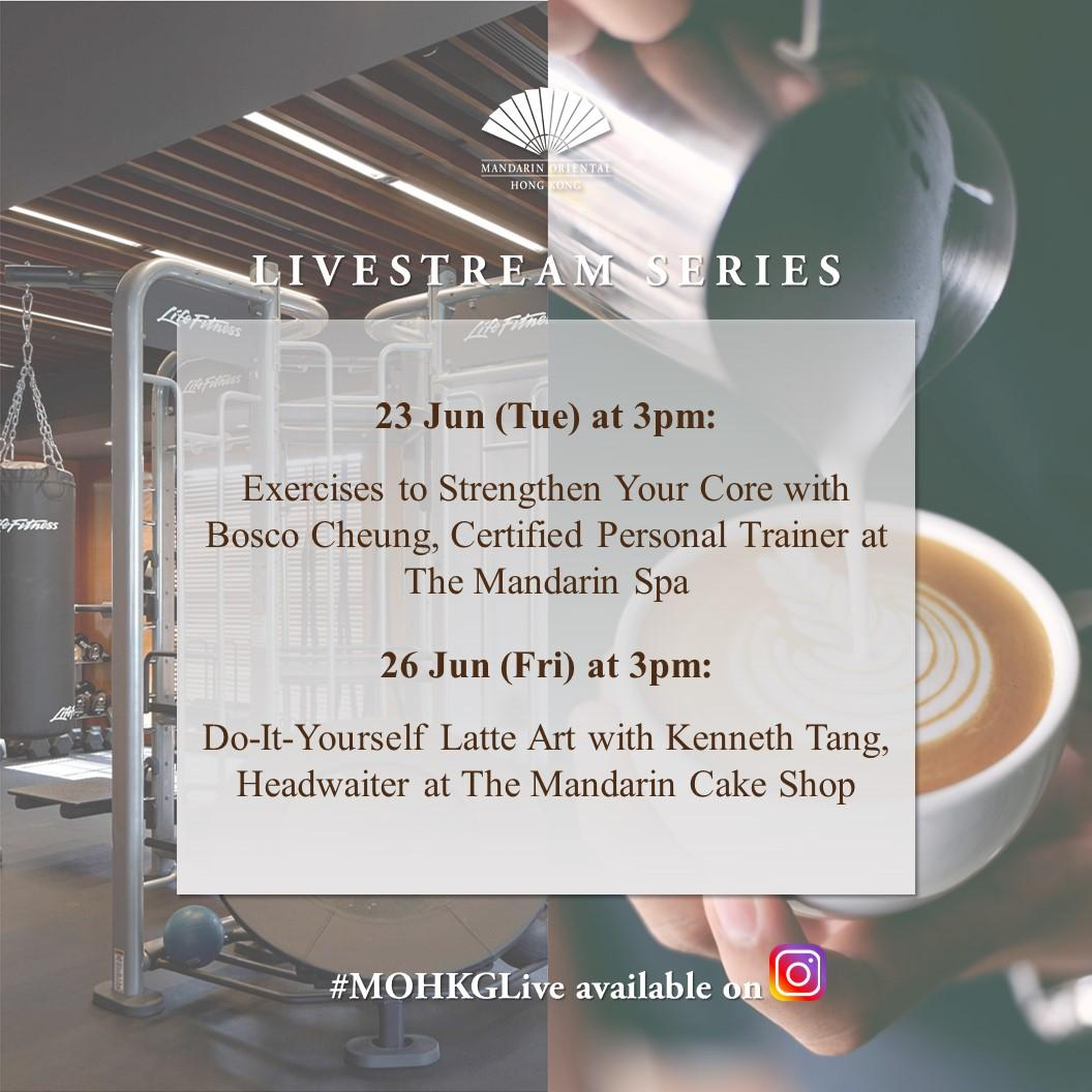 Our Instagram livestream continues this week! Tomorrow (23 June) our certified Personal Trainer Bosco Cheung performs exercises to strengthen your core. And on Friday (26 June), join Kenneth Tang from The Mandarin Cake Shop as he demonstrates DIY latte art. ☕ https://t.co/F2KEJpJPua