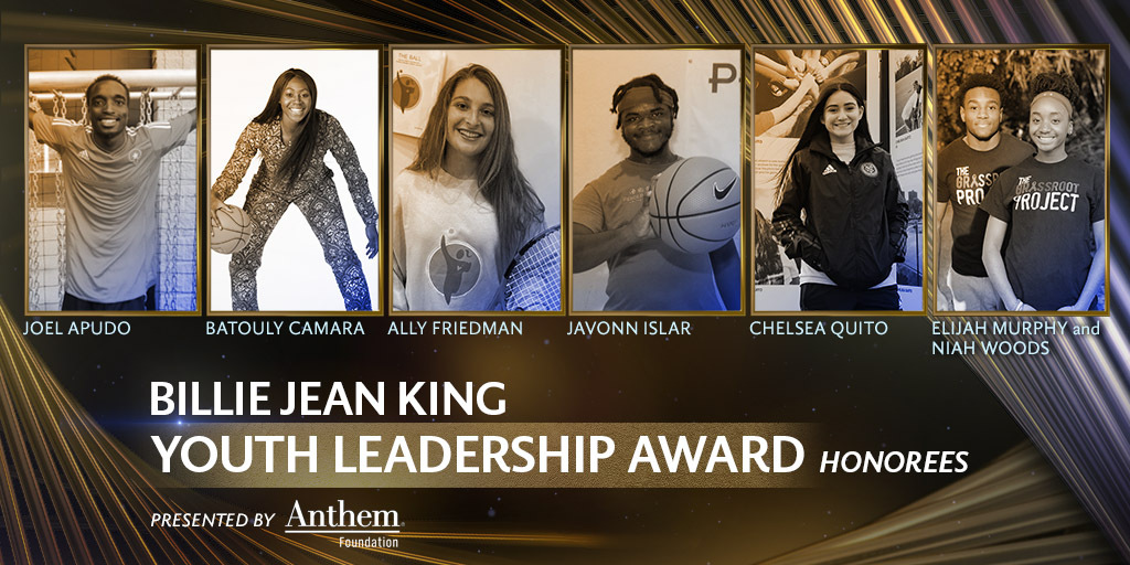 Congratulations to the honorees of this year's #SportsHumanitarian @BillieJeanKing Youth Leadership Award presented by @AnthemFDN for all of their incredible work using sports to create social change. https://t.co/xI1rEYfHhy