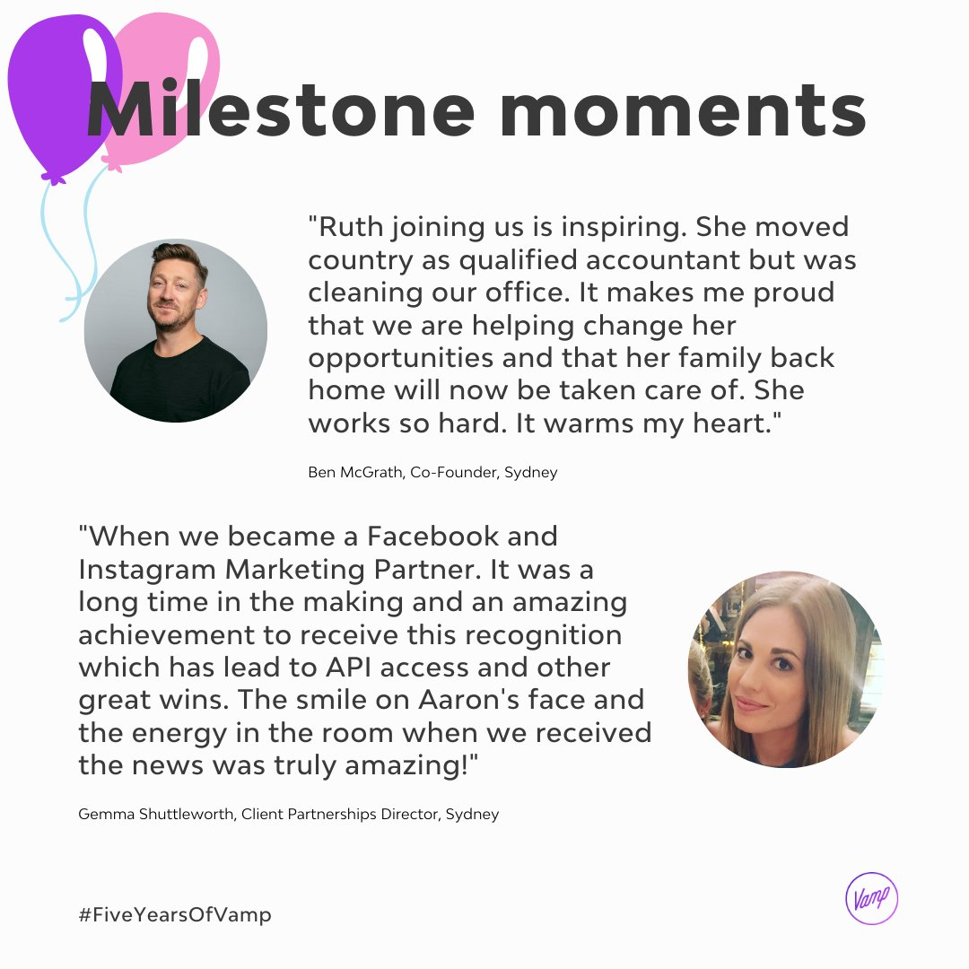 Celebrating #FiveYearsOfVamp with our Vampers #MilestoneMoments   Today we have Ben McGrath, Vamp Co Founder and Gemma Shuttelworth, Sydney's Client Partnerships Director. Both chatting about their proudest memories from the past five years! https://t.co/esG6tBICeE