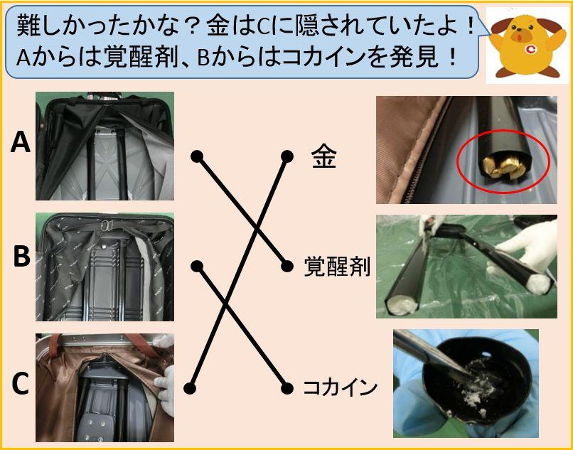 【東京税関☆ #金密輸 クイズ!~第16弾解答編~】 どのスーツケースに金が隠されていたか分かったかな~?ちょっと難しかったけど、正解はCのスーツケースに金が隠されていたワン!Aからは覚醒剤、Bからはコカインを発見!税関は密輸を見逃しません! #東京税関 #密輸 #クイズ https://t.co/3FSlMng1Nr