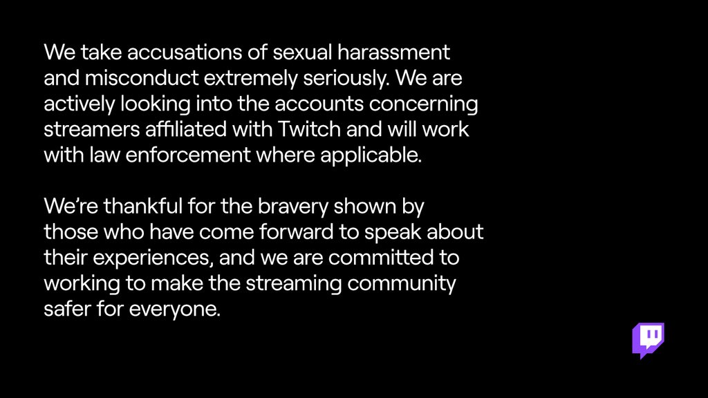 Video game streaming platforms investigating sexual harassment allegations