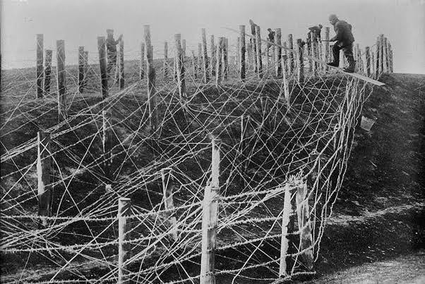 Wells around Dwarka were dried up and area till one Kosa was covered with something like barbed wire. (This is used in modern times too, see pic below from world war 1)