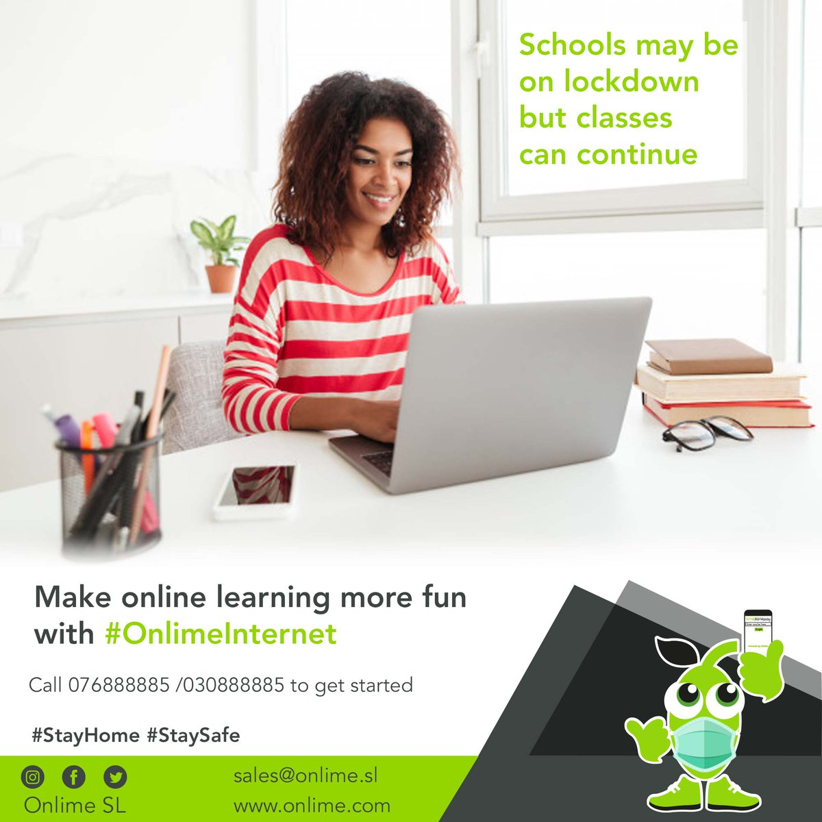 Make online learning more fun with #OnlimeInternet Call 076888885 /030888885 to get started. #SierraLeone #Freetown #SaloneTwitter https://t.co/ahjl7AgbEx