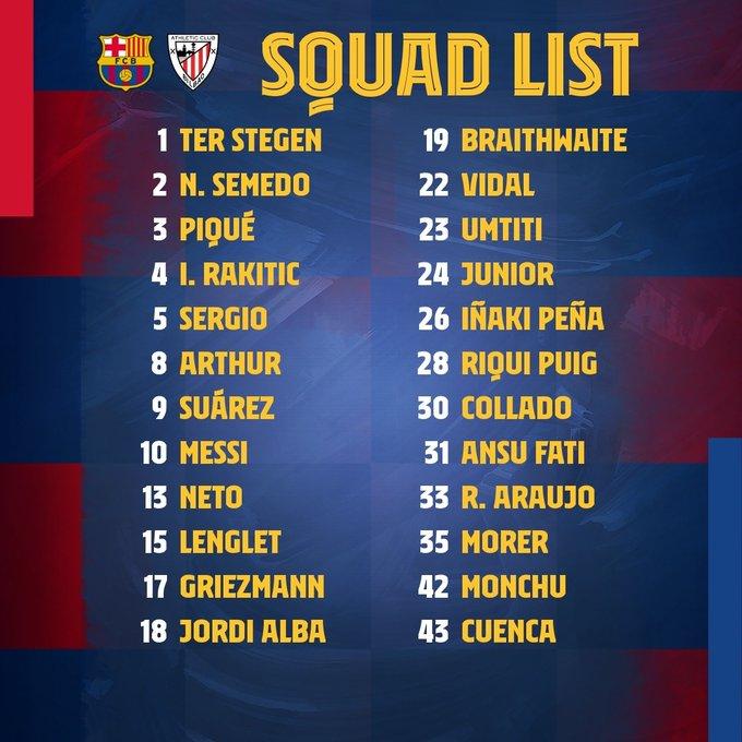 Squad list for Barça - Athletic Bilbao