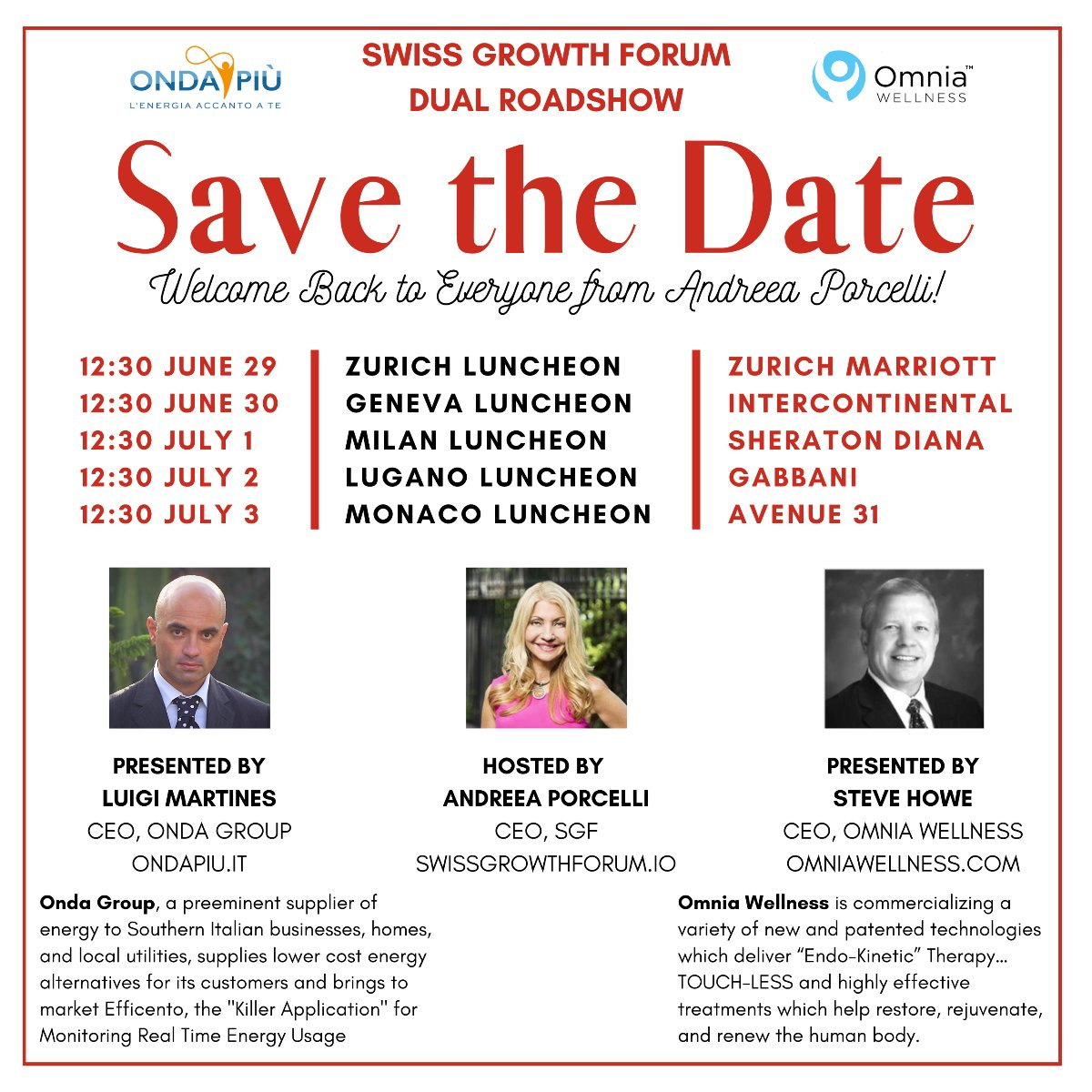 Andreea Porcelli Cordially Invites you to the SGF Roadshow for Omnia Wellness June 29th through July 3rd!  https://t.co/ROWgNENo2i  #NewYork #Covid_19 #QuarantineLife #business #lockdown #updates #cybersecurity #investing #stocks  #coronavirus #nasdaq #MeganFox #Hailey #PizzaHut https://t.co/8qXT1ZgRr2