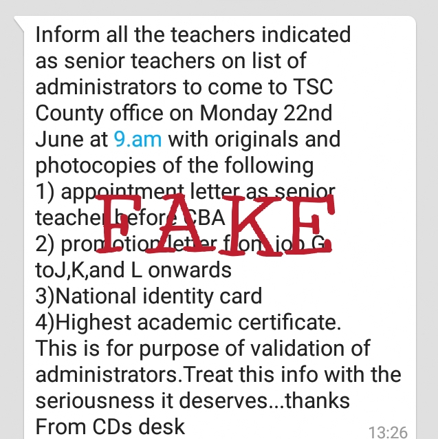 A screen shot of the fake news on teachers' head count and biometric registration.
