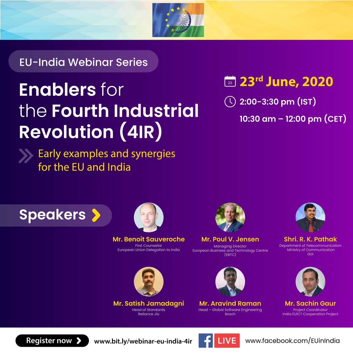 Thank you for making our second ICT session under the EU-India Webinar Series a truly engaging discussion. @EU_in_India @EBTC_EU @sachgaur  #4IR #EUIndiaEkSaath 🇪🇺🇮🇳 #AI #5G