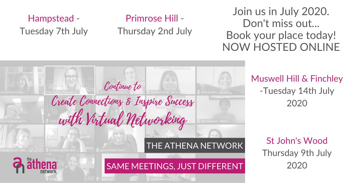 If you'd like to know more about networking for women in business in North London, get in touch to book your place at one of our July meetings.  #Networking #DatePlanning #SaveTheDate #Meetings #womensnetworking  #womeninbusiness #athenanetwork #femaleentrepreneur https://t.co/N7jQ2OMRY5