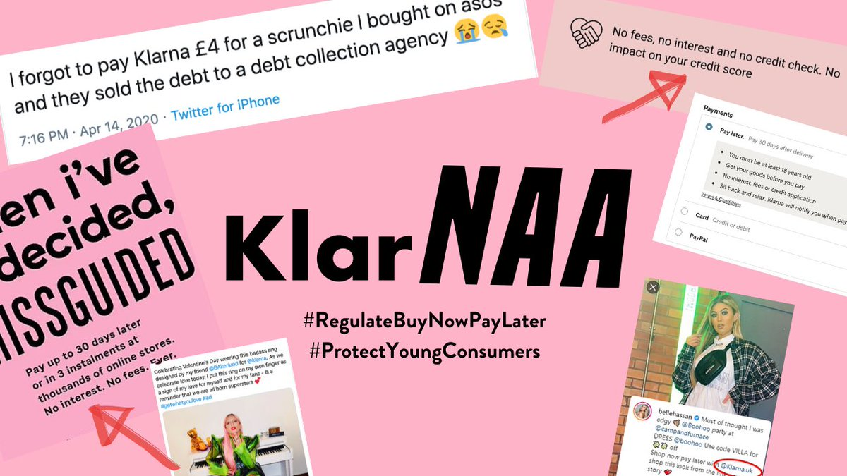 #klarNAA Today I'm launching a campaign urgently calling for better regulation to protect young and vulnerable consumers from misleading Buy Now Pay Later products ⚠️ 1/12 #regulateBuyNowPayLater Please sign the petition👉 bit.ly/3dlSY2r