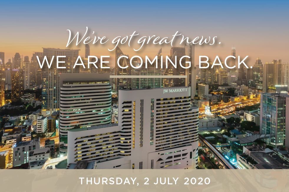 📣We are reopening Thursday, 2 July 2020. We know you miss us and we miss you too. JW Marriott Hotel Bangkok along with our restaurants will be reopening our doors and keeping them open from 2 July. Visit our website at https://t.co/bPYV2CVQim https://t.co/RogdNOFbwa