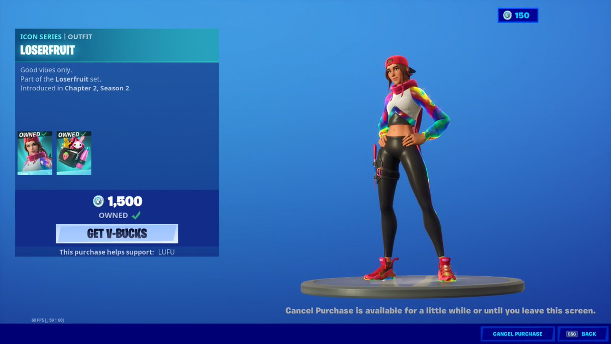 Congratulations @Loserfruit Make sure to use code LUFU in the item shop!