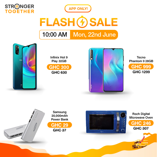 Flash Sale returns at 10 AM with the juiciest of deals on the Jumia APP! Click https://t.co/KmDdKqlUEl for the Infinix Hot 9 Play selling at just GH¢ 300 at 10 AM. Download the Jumia app now cos it's exclusive to app users! #StrongerTogether https://t.co/6sWcdGg0gr