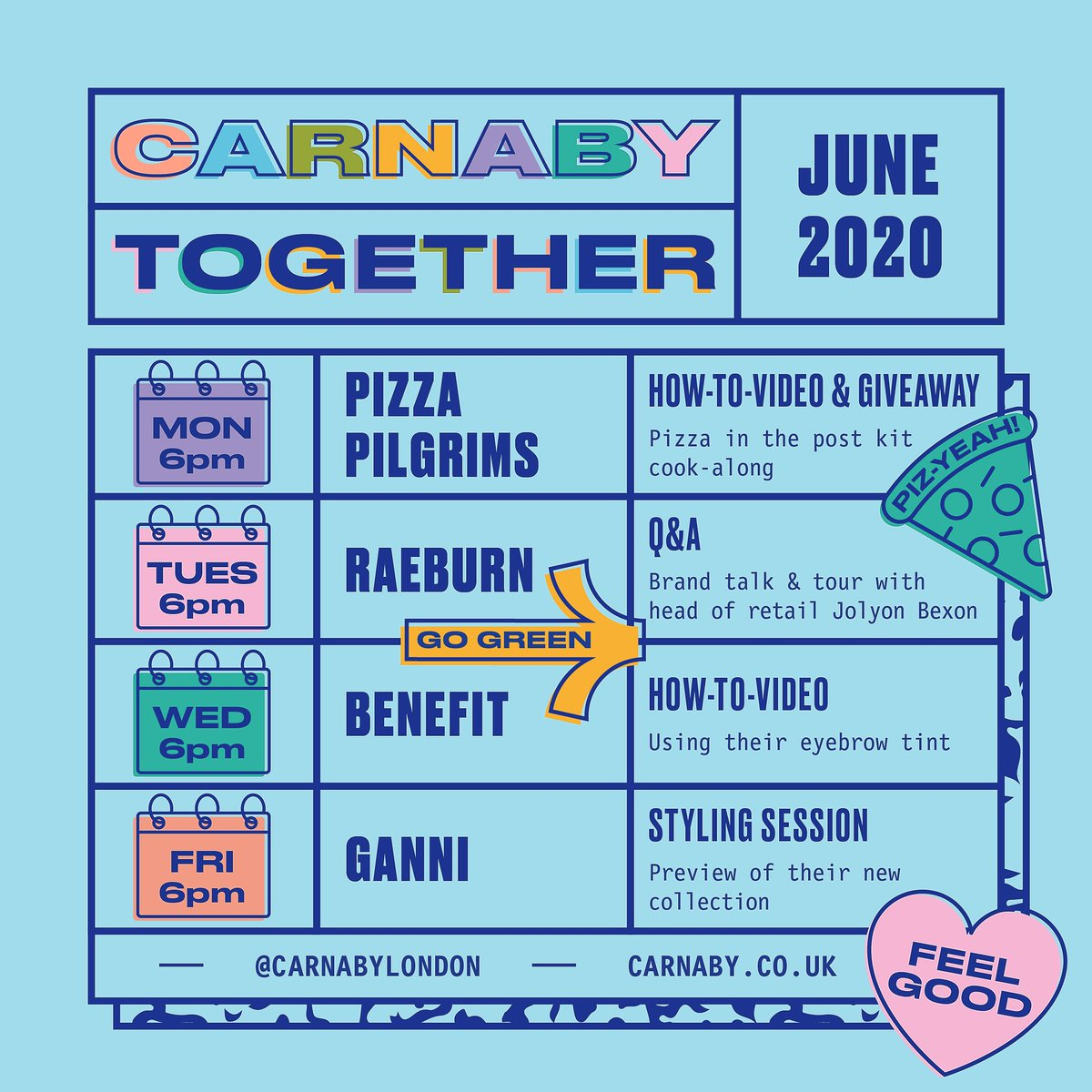 It is the final week of #CarnabyTogether and we have a jam-packed schedule of activities this week. Tune in to our Q+A with @Raeburn_Design, a how-to with @BenefitUK and a styling session with GANNI. Tune in at 6pm today for an exciting @pizzapilgrims #giveaway! https://t.co/QXOvIryTAk