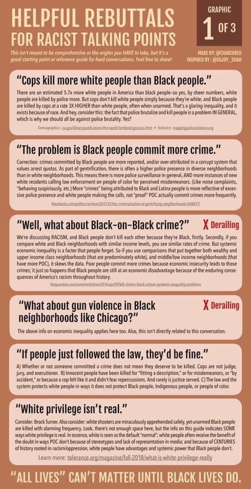 Rebuttals to racist talking points.