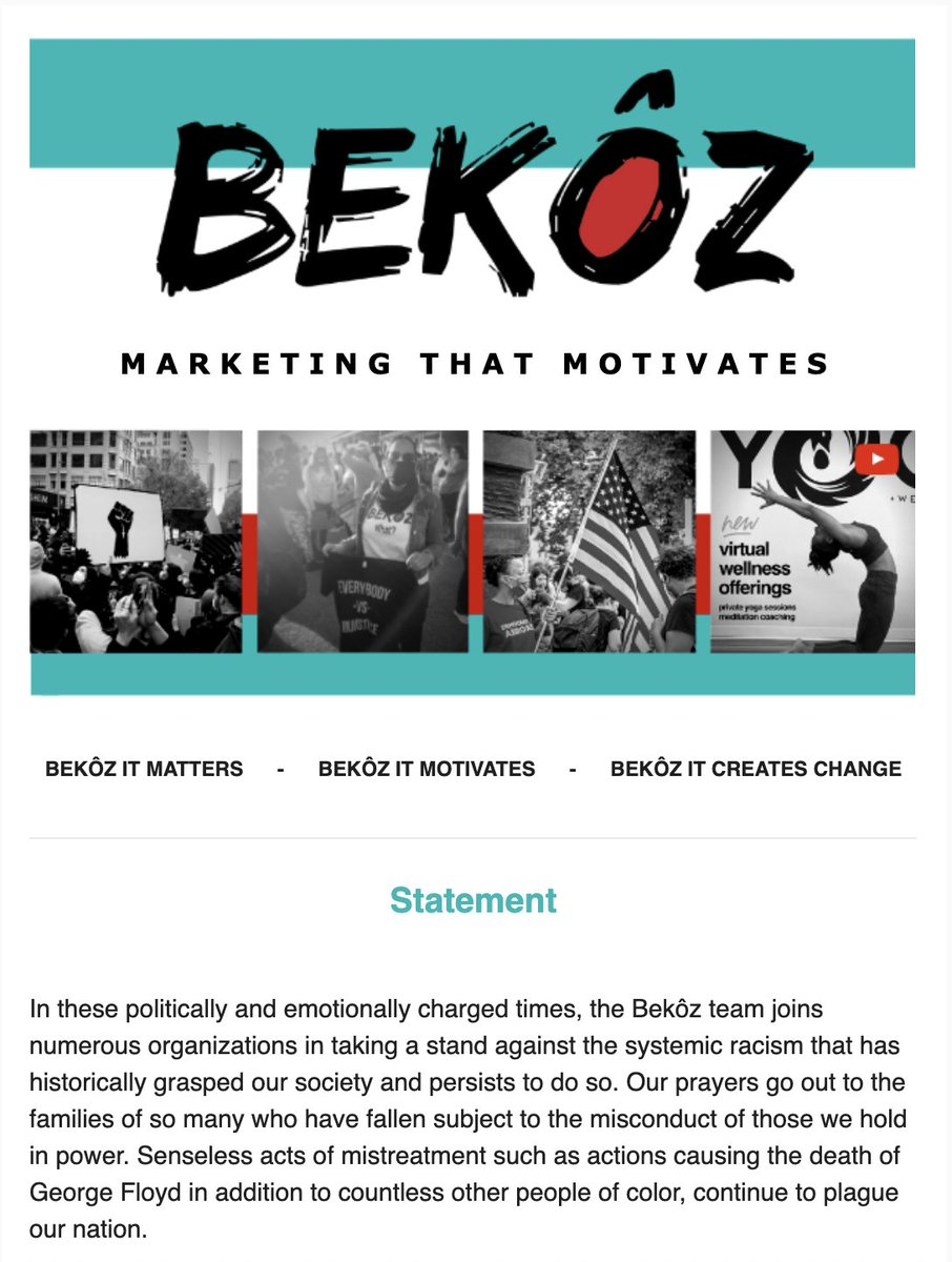 We stand against all practices supporting racial inequality, & stand w/ those who work for equity & inclusion. We do it Bekôz we want to motivate change. We remain dedicated to social improvement & hope youll join us. bit.ly/2NbOfp6 #BekozItMatters #BekozItCreatesChange