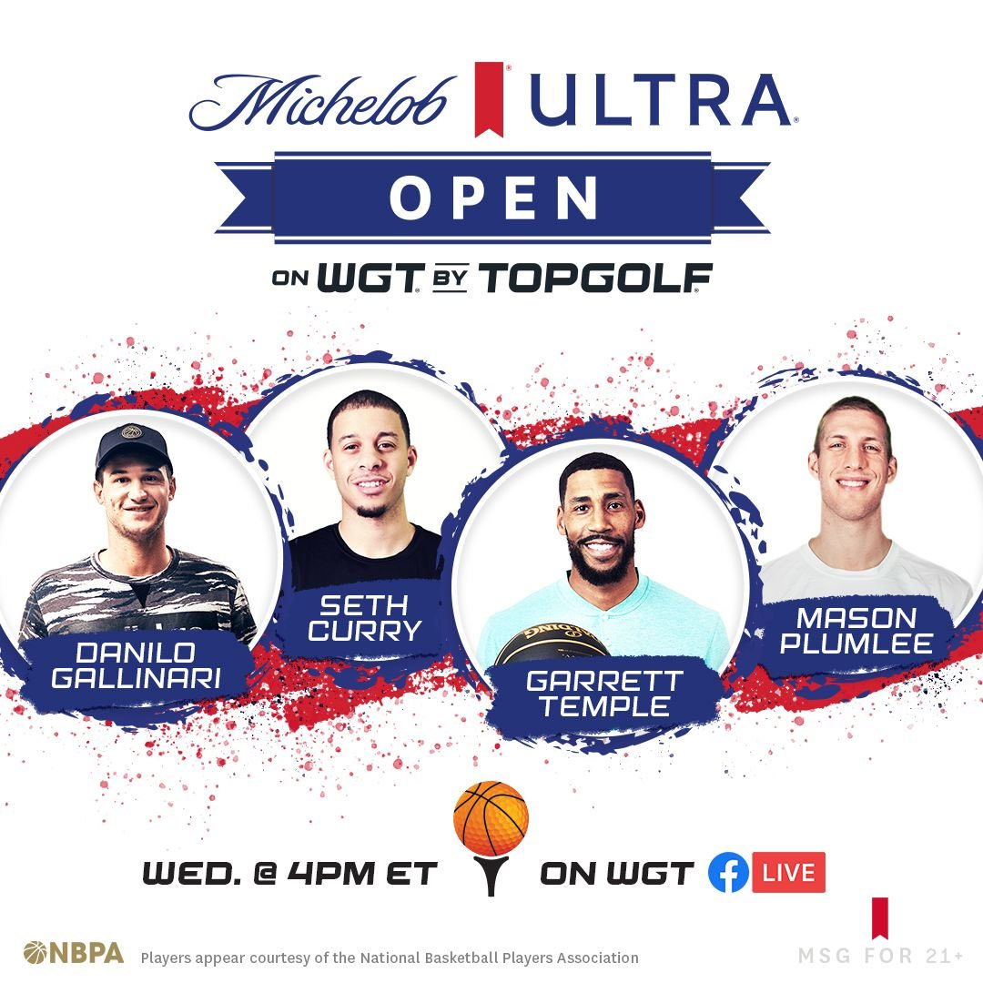 Watch these basketball stars virtually tee off during the Michelob ULTRA Open on @wgtgolf. We're donating $25k to a charity of the winner's choice. Check out https://t.co/9cDC4xvk4G https://t.co/hupwEiOzQT