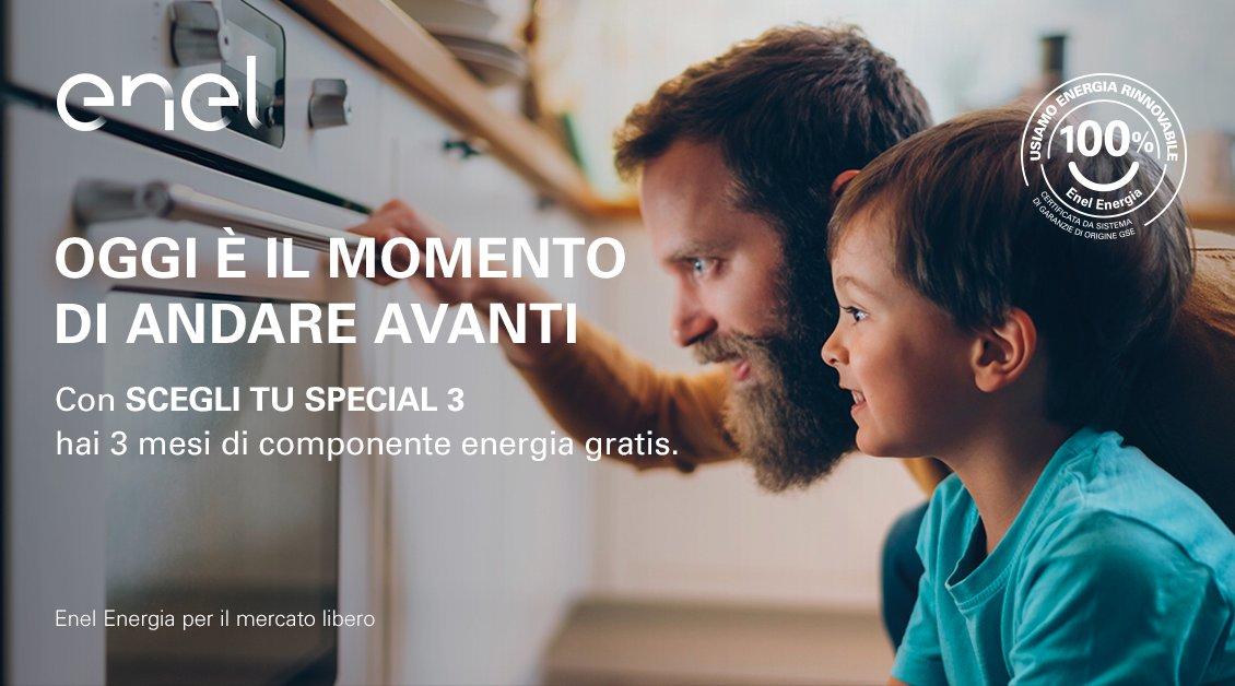 Scopri la nuova offerta di Enel Energia. Con SCEGLI TU SPECIAL 3 per la tua casa hai tre mesi di componente energia gratuita. In più, hai un'energia certificata come proveniente al 100% da fonti rinnovabili. Scopri di più: https://t.co/Ip6diEE7p4 https://t.co/72BXJArb1S