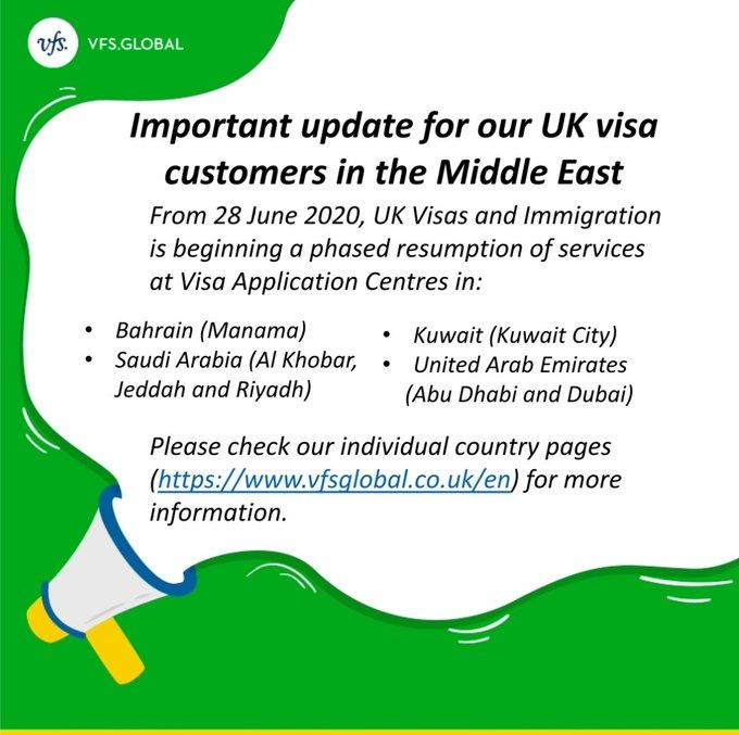 """UKinSaudiArabia 🇬🇧 on Twitter: """"اعتبارًا من 28 يونيو 2020 ، يبدأ مركز  التأشيرات الموحد @VFSGlobal في استئناف مرحلي للخدمات في كل من البحرين  والكويت والمملكة العربية السعودية والإمارات العربية المتحدة. يرجى مراجعة"""