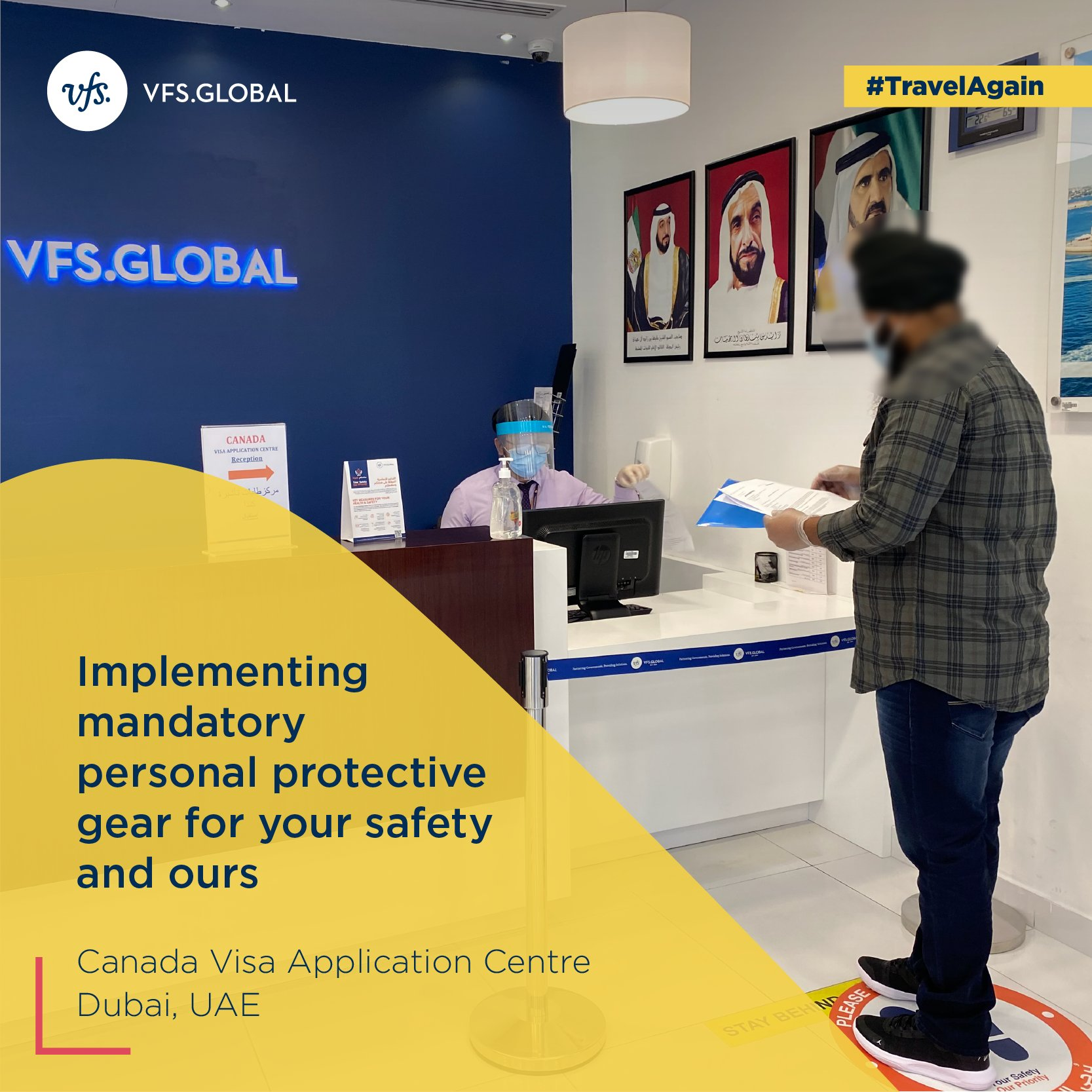 """VFS Global on Twitter: """"As we gradually resume operations at our Centres,  you will notice that our staff is clad in personal protective equipment  such as masks & will maintain social distancing"""