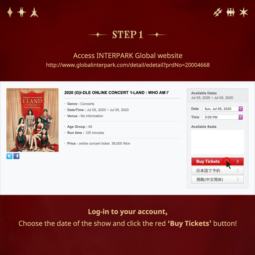 """OneProduction على تويتر: """"2020 (G)I-DLE ONLINE CONCERT 'I-LAND : WHO AM I'  Ticket Purchase Guide 👉🏻 https://t.co/0VrpfOUrZt Grab ur 🎫 at  #globalinterpark.com via WEB only. Details: July 5th (SUN) 3PM (KST)  Streaming:"""