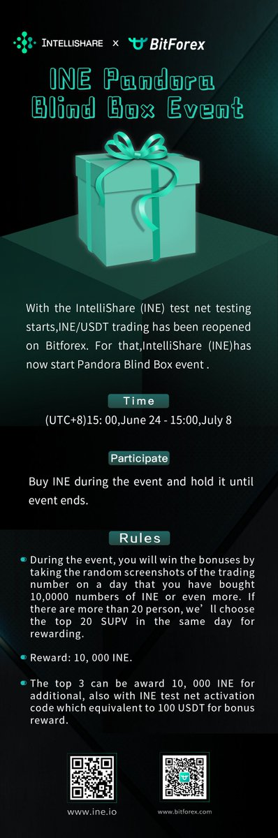 🙈🎁INE Pandora Blind Box Event by @Intellishare_ ⠀ From June 24 to July 8 (15:00 GMT +8), buy INE to participate and win 10,000 INE! ⠀ More details on the picture! ⠀ #contest #trading #cryptocurrency #bitforex #INE #intellishare #participate #win https://t.co/pbZOlgWNZc