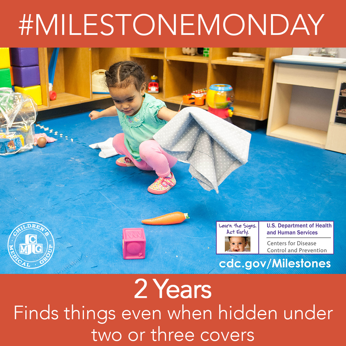 #MilestoneMonday At 2 years old your child will be able to find things when hidden under two or three covers. Get ready for a  ton of hide and seek sessions! #MilestoneMonday #ChildrensMedicalGroup #Pediatrician #DevelopmentalMilestones #ClintonMS #JacksonMS #MadisonMSpic.twitter.com/gjayrUoR4z