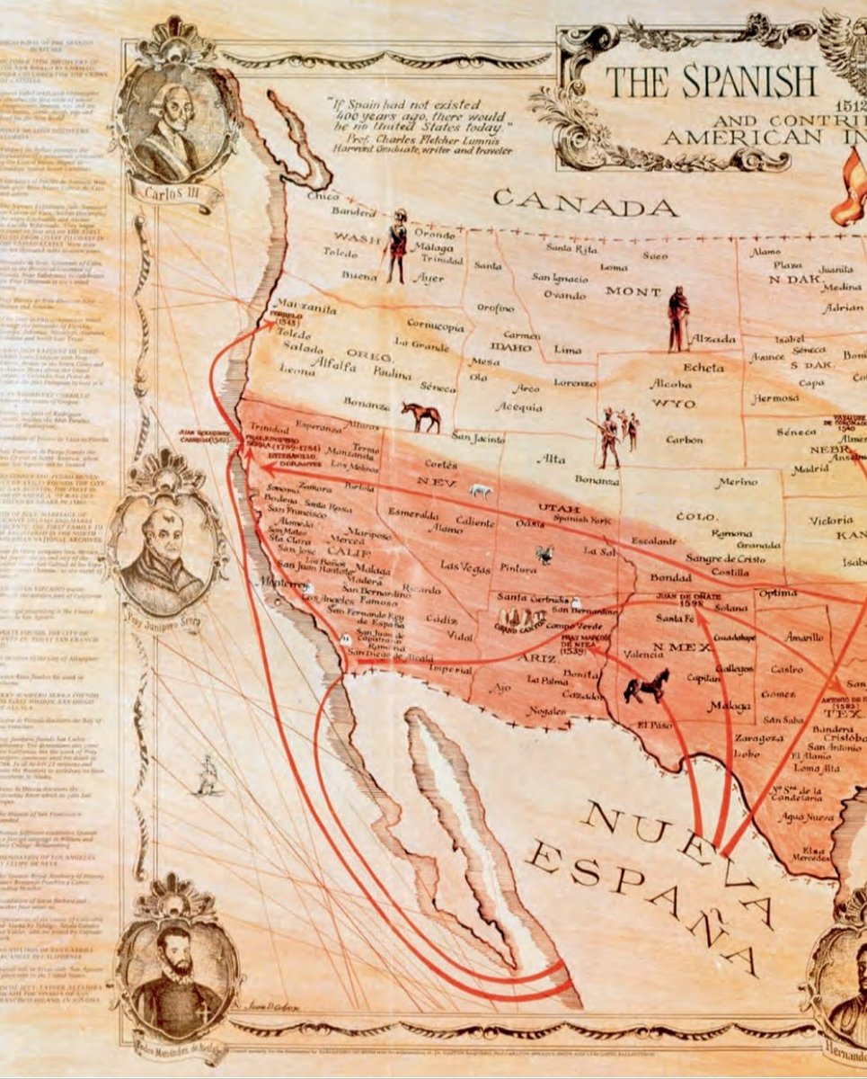 "Mapa de la herencia española en EEUU. Se puede leer en la primera imagen, arriba, la siguiente cita de Charles Lummis: ""If Spain had not existed 400 years ago, there would be not United States today"". https://t.co/ecjk7Faawr"