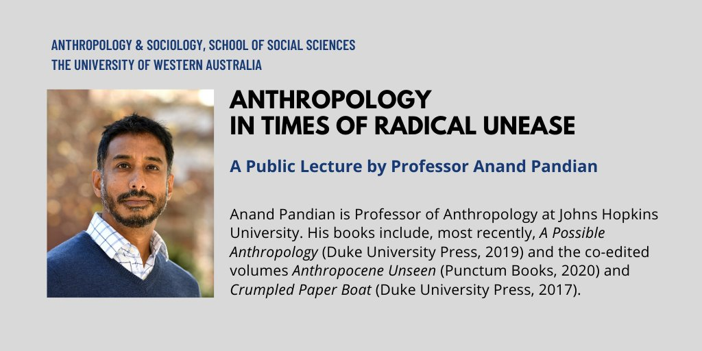 Tune in tomorrow for a public talk via @UWAanthsocs in Perth (and Zoom) about critical engagement in uneasy times, and a reading from A Possible Anthropology. That'd be 6/25 or 6/26, 10pm Havana, 2am Dakar, 7am Lahore, 2pm Auckland, to borrow timezones from #distribute2020!