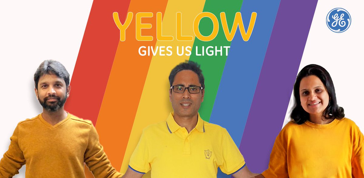 Yellow represents sunlight. At #GE, we are empowered to bring our whole-selves to everything we do. We celebrate our bright differences and our shining. 🌈 #Pride #PrideMonth #GEProud https://t.co/hxhMCBtruv