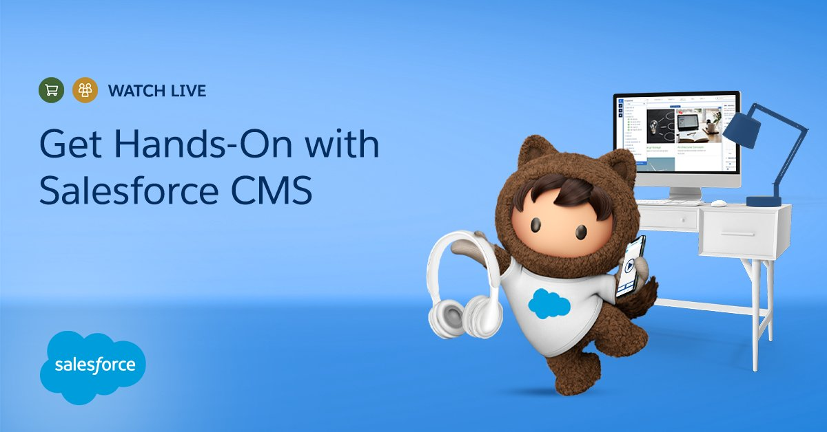 Get hands-on with Salesforce CMS!  Create and manage CMS content ✔️ Surface content in a community ✔️ Explore the CMS API to surface headless content ✔️ See the CMS-Commerce integration in action! ✔️   Get the details: https://t.co/lLARDTGt7Z https://t.co/kEelk3OOr2