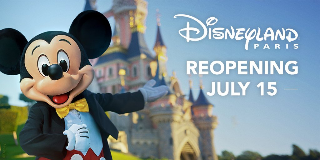 We're pleased to announce that @DisneyParis_EN will begin a phased reopening of the resort starting with Disneyland Park, Walt Disney Studios Park, Disney's Newport Bay Club hotel and Disney Village as of July 15, 2020. Learn more: bit.ly/3enHdtn