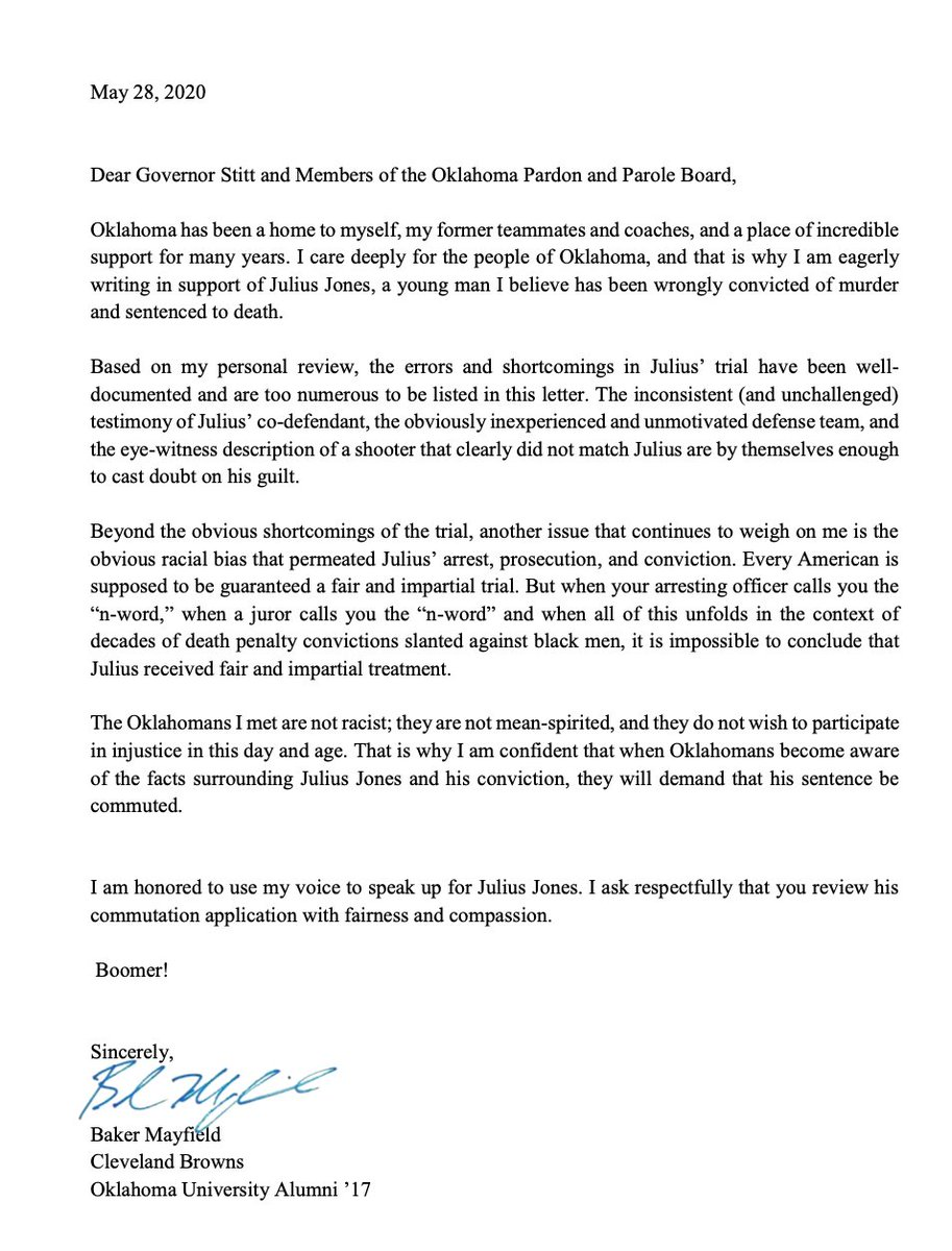 .@justice4julius shared this letter with ESPN that Baker Mayfield wrote to the Governor of Oklahoma and the Oklahoma Pardon and Parole Board in support of Julius Jones https://t.co/mPIJQdXIIG
