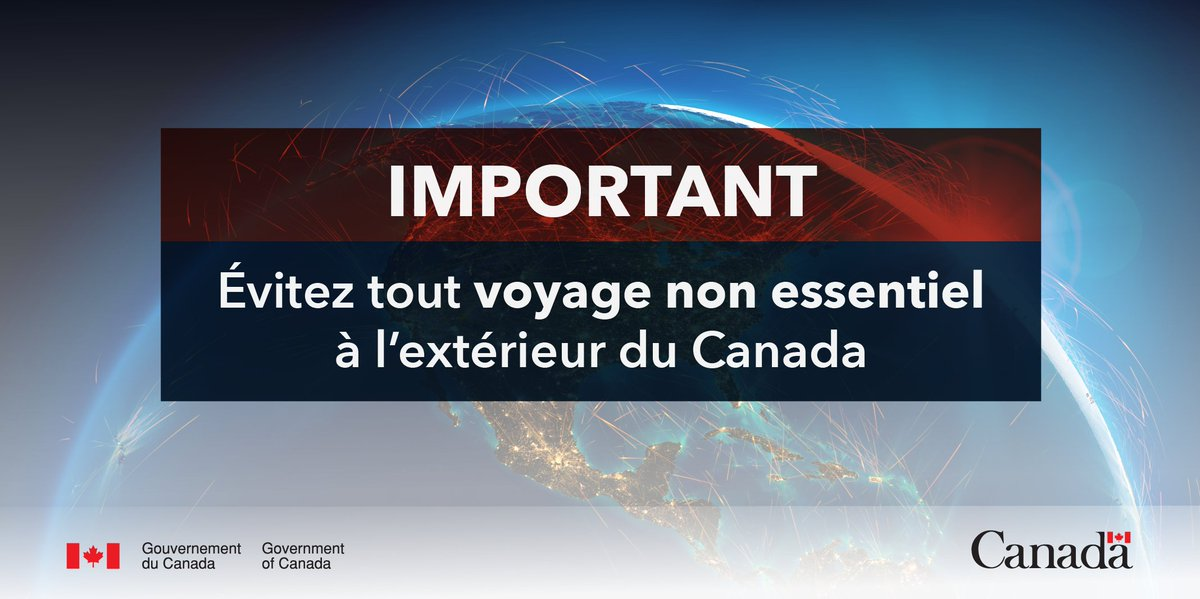Nous conseillons toujours aux Canadiens d'éviter tout voyage non essentiel jusqu'à nouvel ordre.   Si vous décidez de voyager malgré nos conseils, vos assurances pourraient ne pas couvrir vos frais de voyage ou vos frais médicaux.      https://t.co/OXJtRuwcmy   #COVID19 https://t.co/UirjU8OY6k