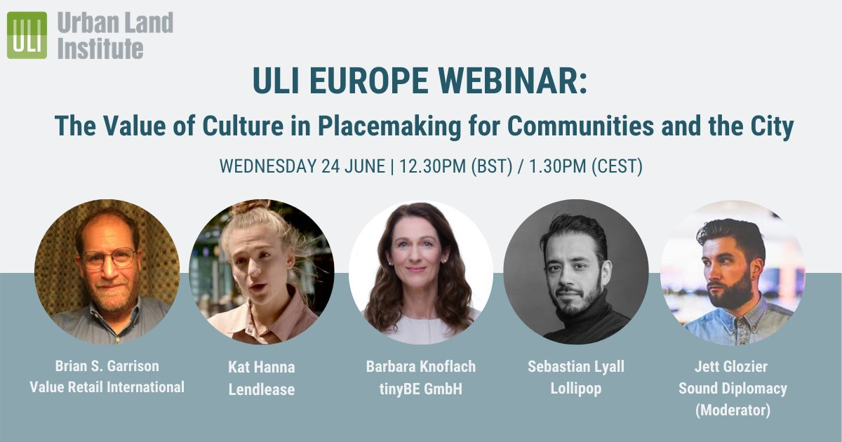 What value does placemaking have for ensuring the livelihood of cities?   Join @ULIEurope on Wednesday 24th June (12.30pm BST) for an engaging webinar with experts from across the industry and join the discussion.  https://t.co/wfptI1WjkL https://t.co/sHanlIvnfH