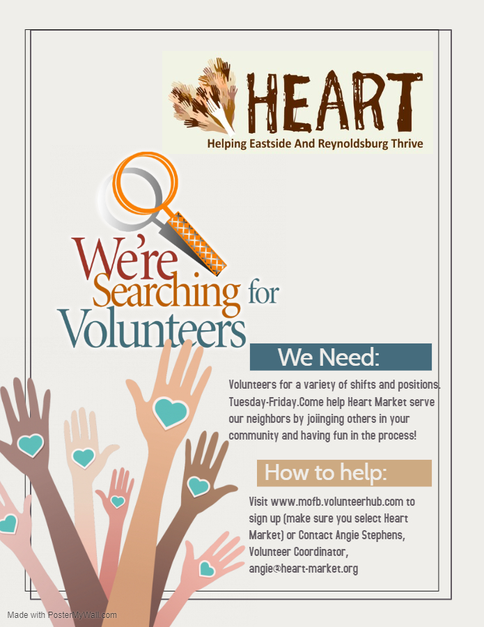 This is a great opportunity for students looking for service hours! @HeartFoodPantry #reynproud https://t.co/bw7PUsASjn