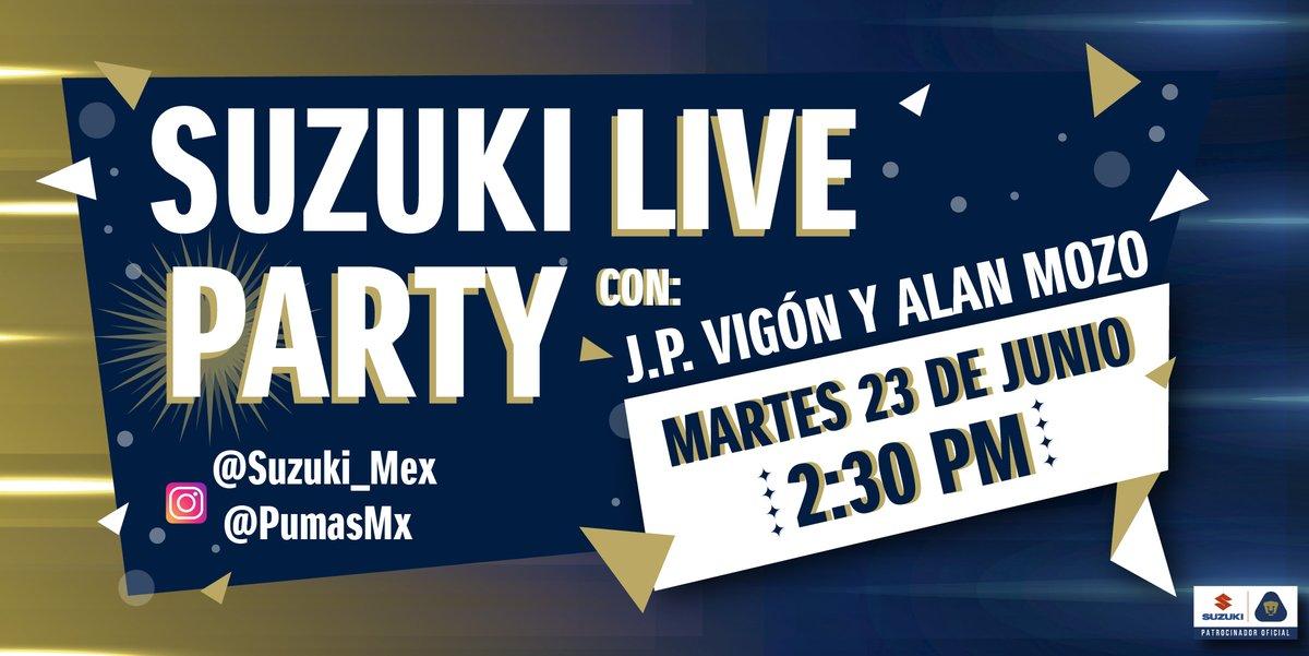 ¡Únete al primer #SuzukiLiveParty con tus jugadores favoritos de @PumasMX! 😉  ⏰ 2:30 pm. 📅 Martes 23 de Junio 📲 Por Instagram Live @PumasMX y @Suzuki_mex  ¡Activa las notificaciones! https://t.co/8dgUMGXWlX