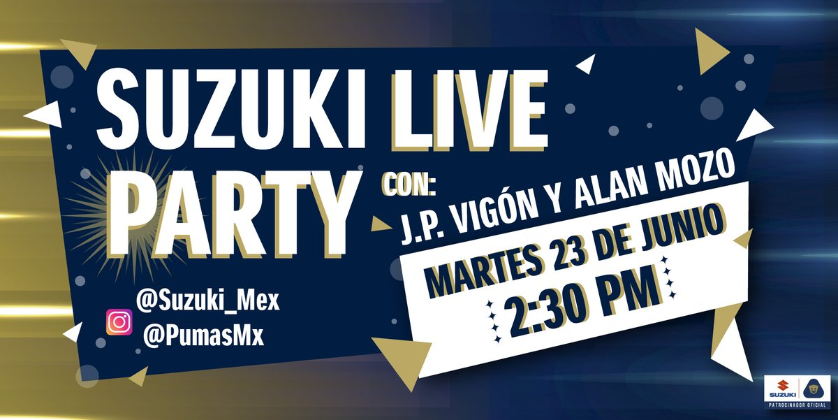 ¡Hoy tenemos #SuzukiLiveParty con @jpvigon y @alan_mozo51 ¡Conoce el lado más divertido de los jugadores de  @PumasMX !   ⏳ 2:30 pm. 📅 Martes 23 de Junio 📲 Por Instagram Live @PumasMX y @Suzuki_mex ¡No te lo pierdas! https://t.co/vIaOhqNa29