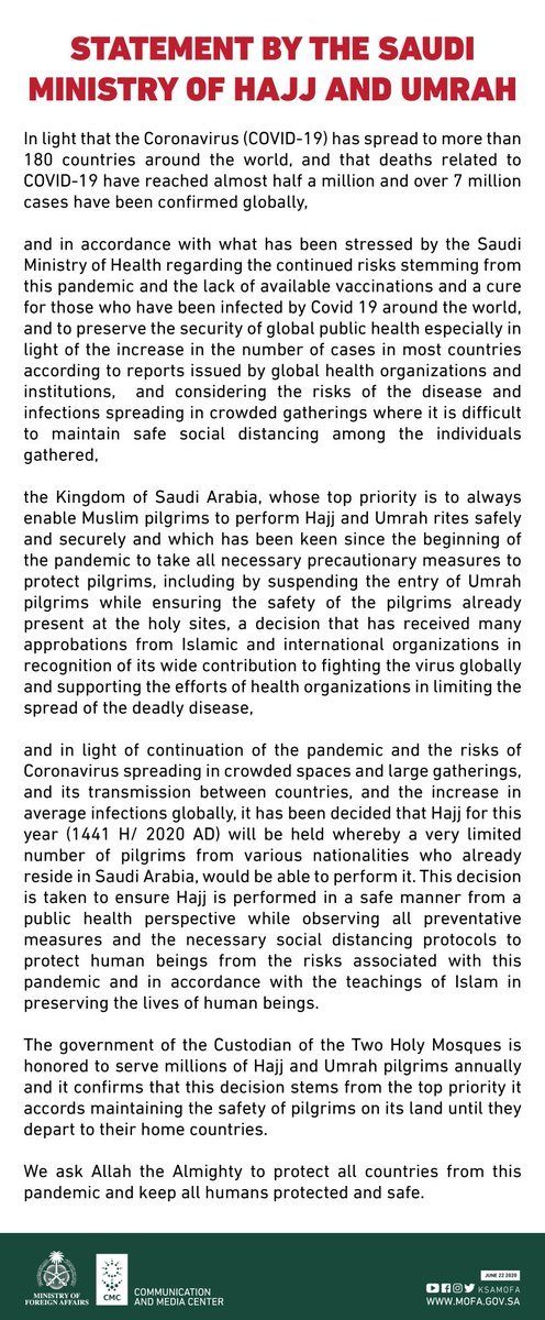 Statement by the Saudi Ministry of Hajj and Umrah.