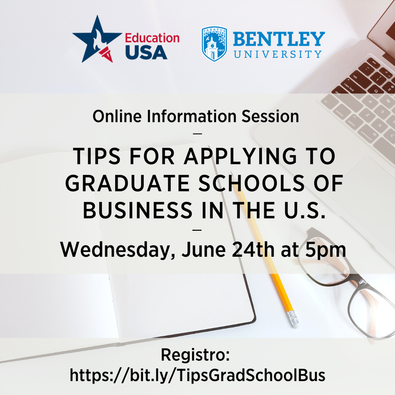 Are you interested in applying for a Master's Degree in the fields of finance, analytics, marketing or business? Join @EdUSASpain for a presentation by two representatives of Bentley University @bentleyu  📅June 24 - 5pm https://t.co/J6CwPJ8PYA https://t.co/hQLgRp6lD5