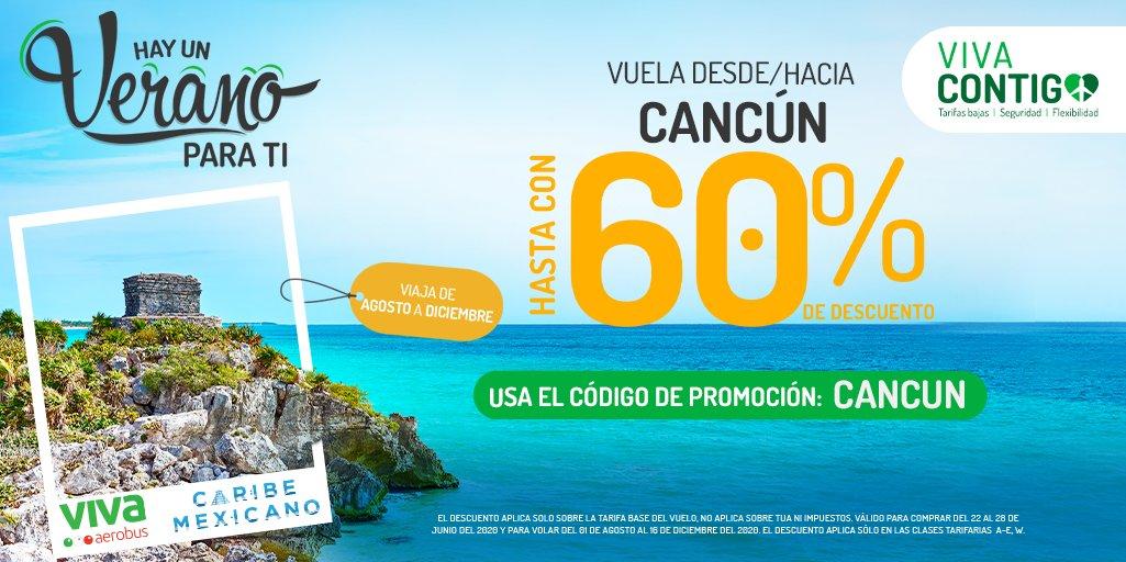 ¡Empecemos la semana con sol, arena y playa! 😎🏝️ Volando desde/hacia Cancún de agosto a diciembre con hasta 60%, no olvides utilizar el código de promoción: CANCUN. ✈️ Y disfruta del verano que tenemos para ti. #VivaPorMéxico #VivaCancún 👉https://t.co/ab7txXs7Mr https://t.co/wUtq4yJUTw