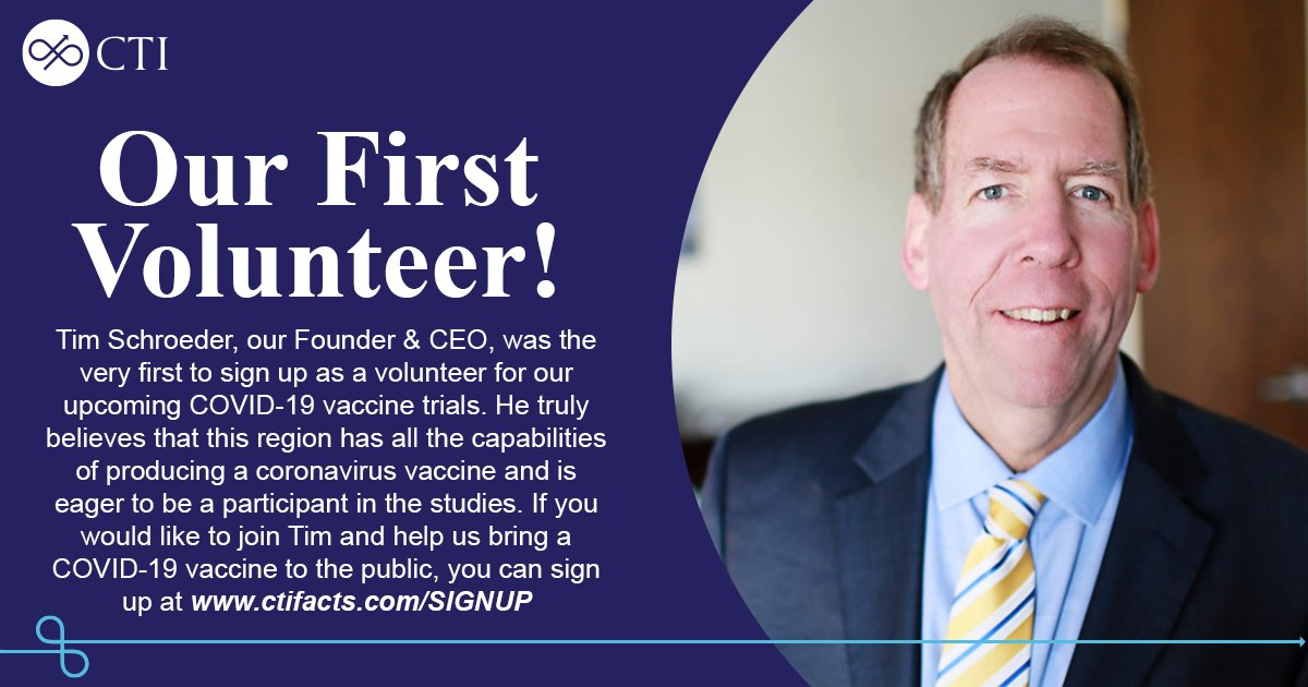 Our CEO was proud to be the first to sign up as a volunteer for our upcoming COVID-19 vaccine studies!   If you would like to join Tim and help us bring a vaccine to the public, visit https://t.co/MC08035sJ3   #COVID19 #COVIDvaccine #ClinicalResearch #Volunteer https://t.co/0qwIDtJynA