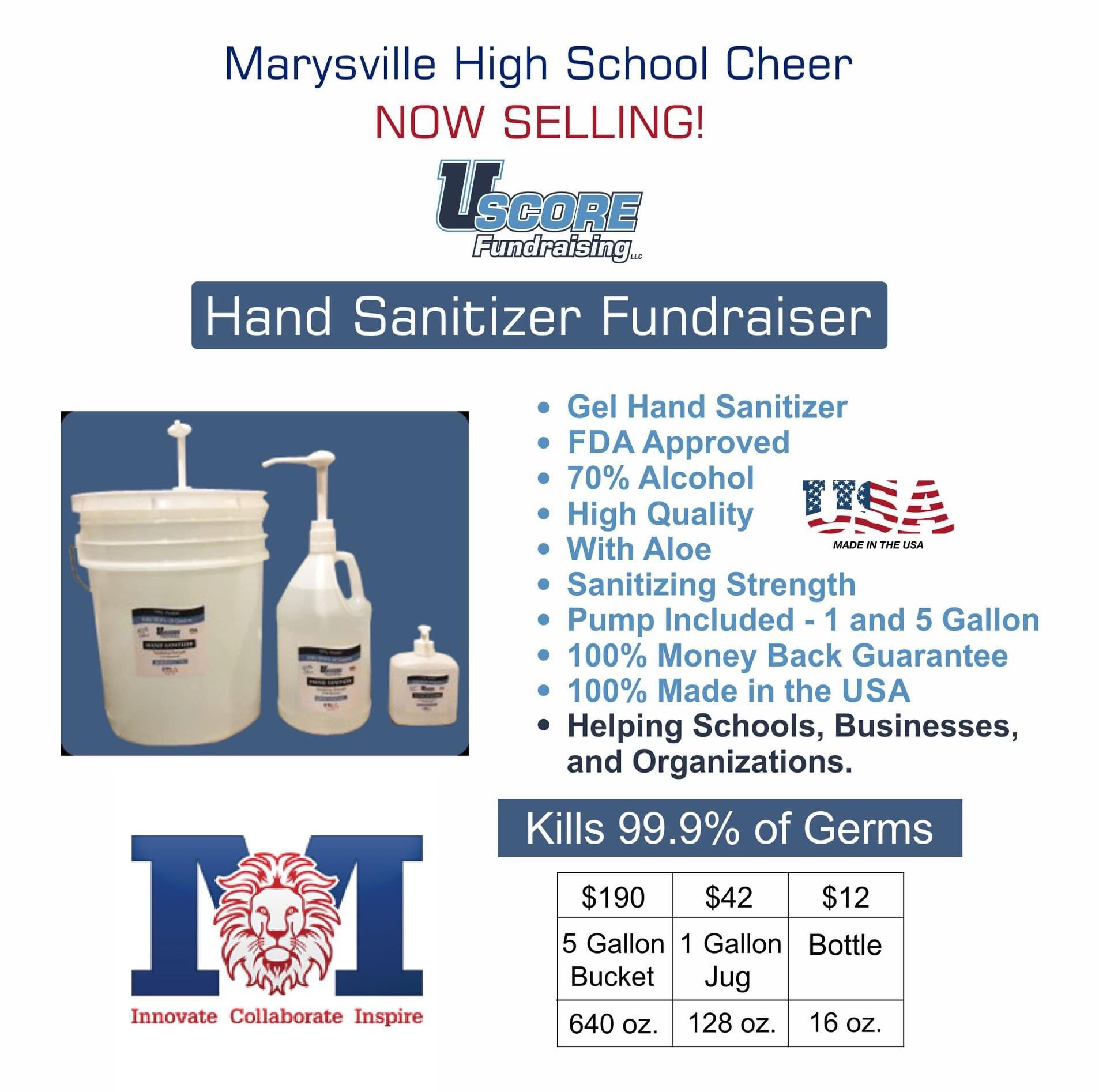 Marysville Cheerleading On Twitter Check It Out We Are Now Selling Hand Sanitizer As A Fundraiser Only Available Through Next Monday June 29 And Will Be Available For Pick Up Thursday July