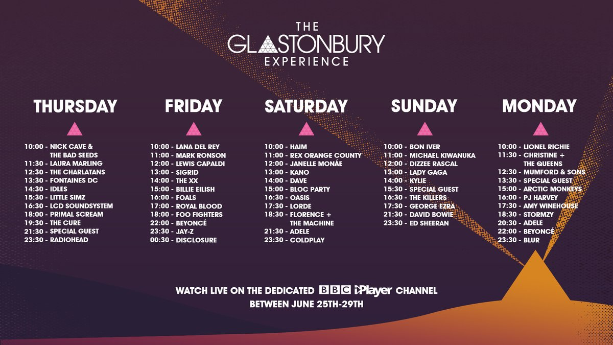 We've cued up some of Glastonbury's greatest sets into this schedule for you.  📝Which 3 are you definitely going to catch?  And there's more... as well as all this there will be 100 sets on iPlayer and even more on BBC Sounds, TV and Radio. #Glastonbury2020 https://t.co/FFUagsbG2r