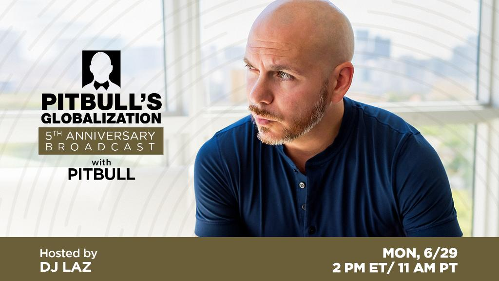 .@pitbull's @GlobalizationXM Radio is turning 5, and you can join SiriusXM's celebration! Details in blog for your chance to be a part of the exclusive virtual event: siriusxm.com/Pitbull5