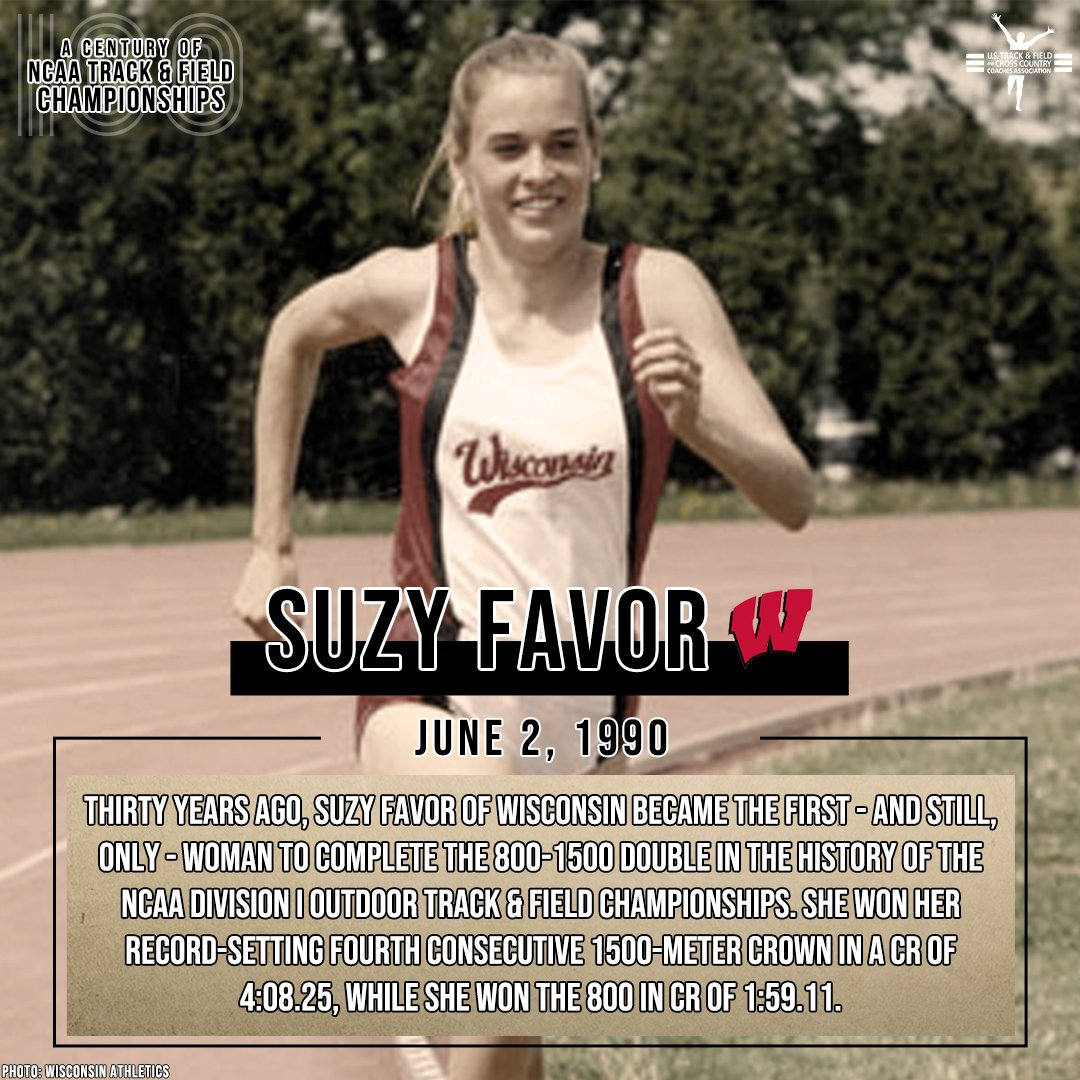𝐎𝐍 𝐖𝐈𝐒𝐂𝐎𝐍𝐒𝐈𝐍!  Suzy Favor of @BadgerTrackXC, who went undefeated in NCAA track finals, completed the first 800-1500 double, among other feats at the 1990 NCAA meet.  #NCAATF x #TheCentury  👇 LEARN MORE 👇  📄 https://t.co/UXYfDi54PQ https://t.co/Qg4ajFDh6m