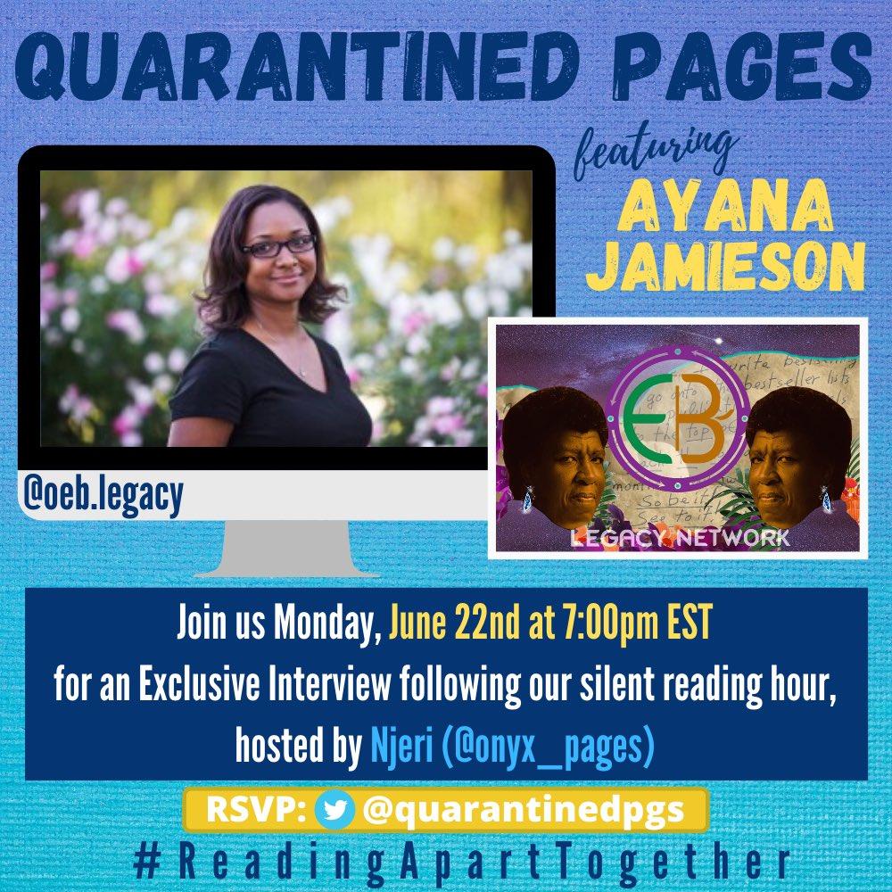 @NisiShawl Interview with Ayana Jamieson today on @quarantinedpgs! Register here: us02web.zoom.us/meeting/regist…