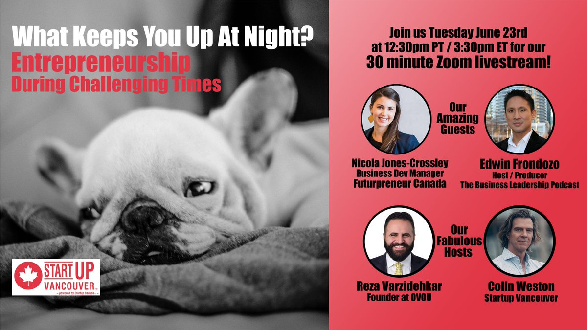 Join us June 23 at 12:30pm PT for our #WhatKeepsYouUpAtNight livestream show! We chat with   @FuturpreneurBC's @n_jc_ and @TBLcast host/producer @edwinfrondozo about their #COVID19 entrepreneurship learnings and challenges.  Register for free ⬇️ https://t.co/Exg46h89yR https://t.co/5VAyEY3hT9
