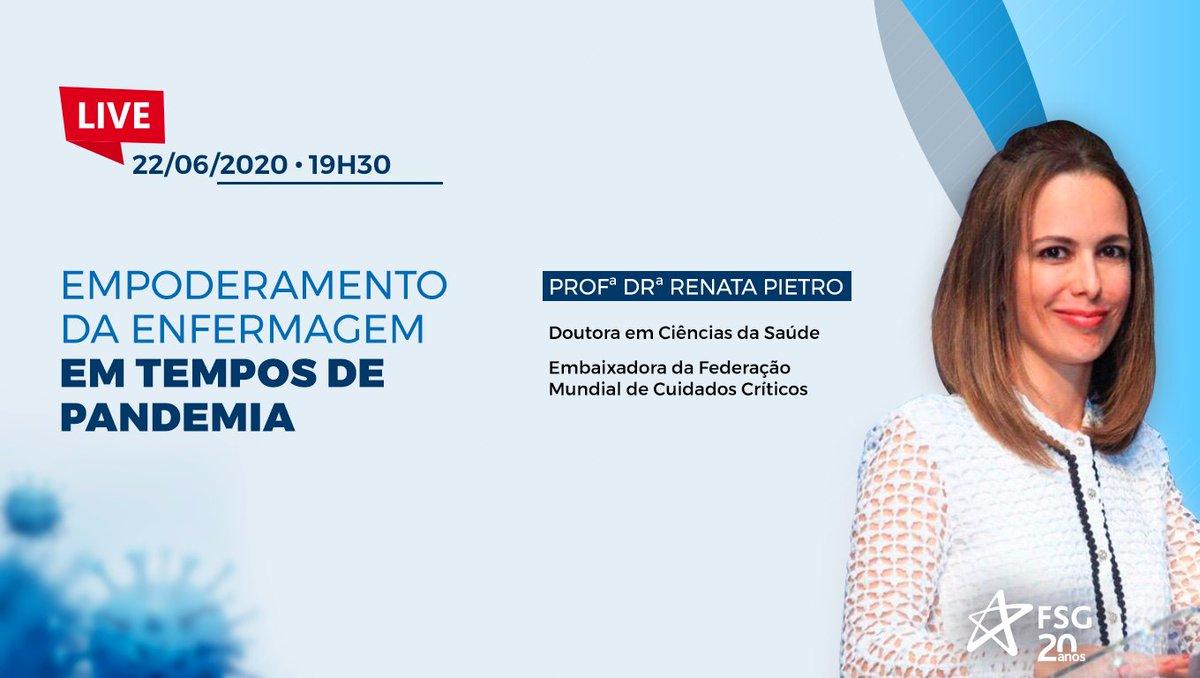 """Temos um encontro especial hoje, às 19:30! Vamos falar sobre o """"Empoderamento da Enfermagem em tempos de pandemia"""", com uma convidada muito especial, a Profa. Dra. Renata Pietro, que é embaixadora da Federação Mundial de Cuidados Críticos. Acesse: https://t.co/M7umyHtSW8 https://t.co/GUE6bFoxjU"""