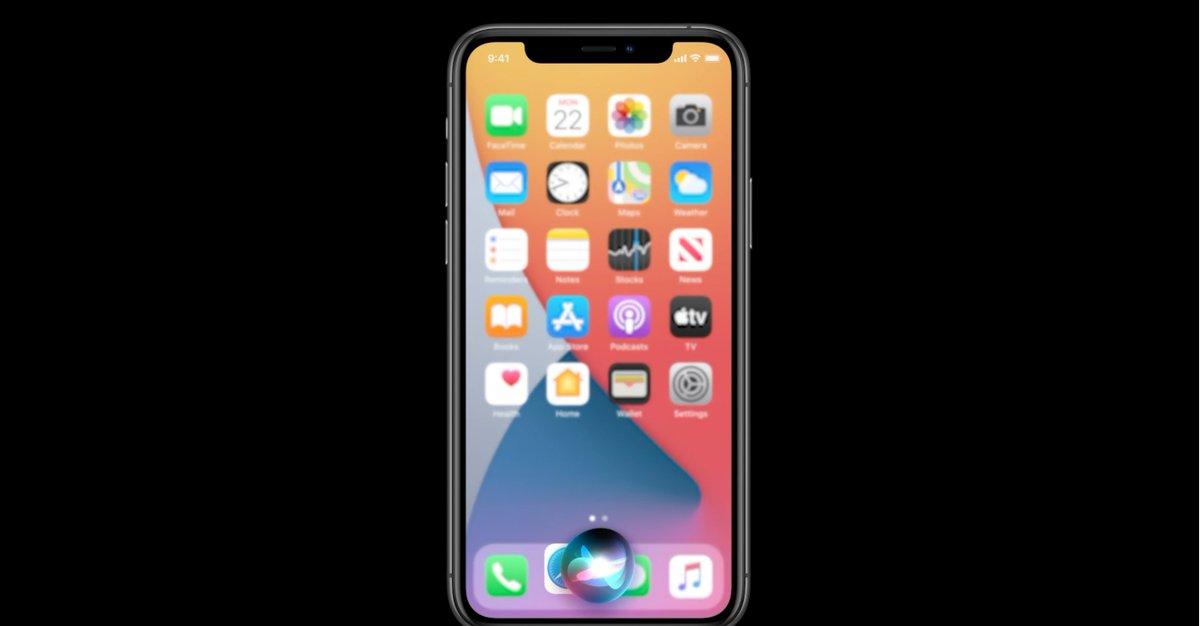 Et le nouveau design pour Siri, plus compact, plus epetit. un petit rond en bas est il va directement sur la page demandée #WWDC20 https://t.co/ZPLclVVIoE